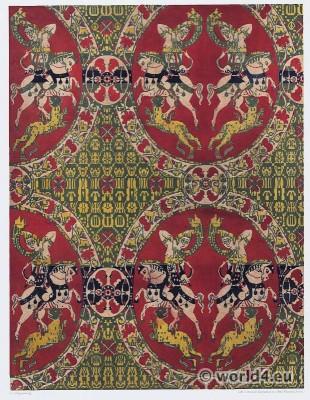 Sassanid pattern. Byzantine period silk fabric. Carolingian clothing.