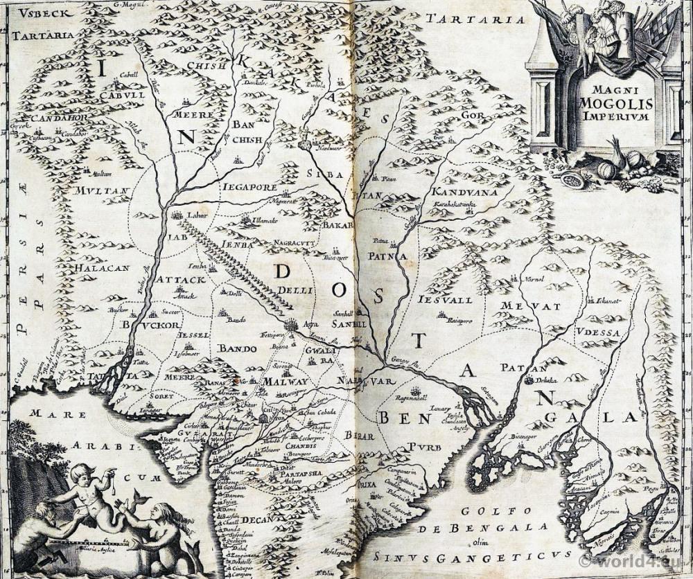 India, Map, Mughal, Empire,