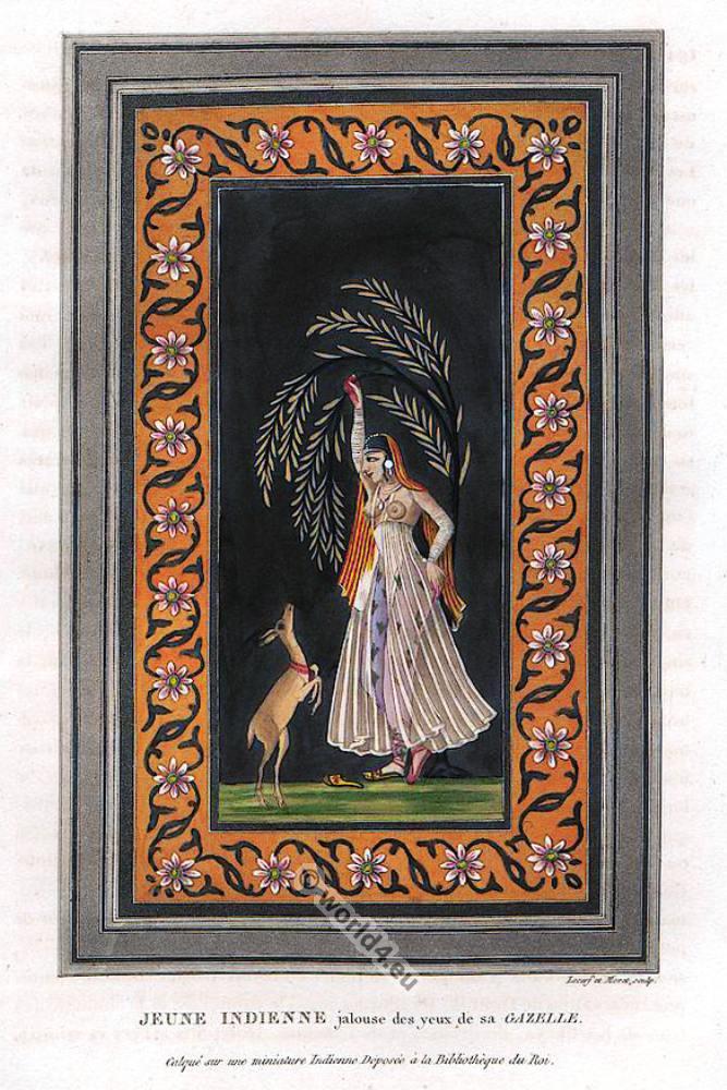 Young Indian girl costume. Mughal miniature painting. Mogul Empire Art Scene.
