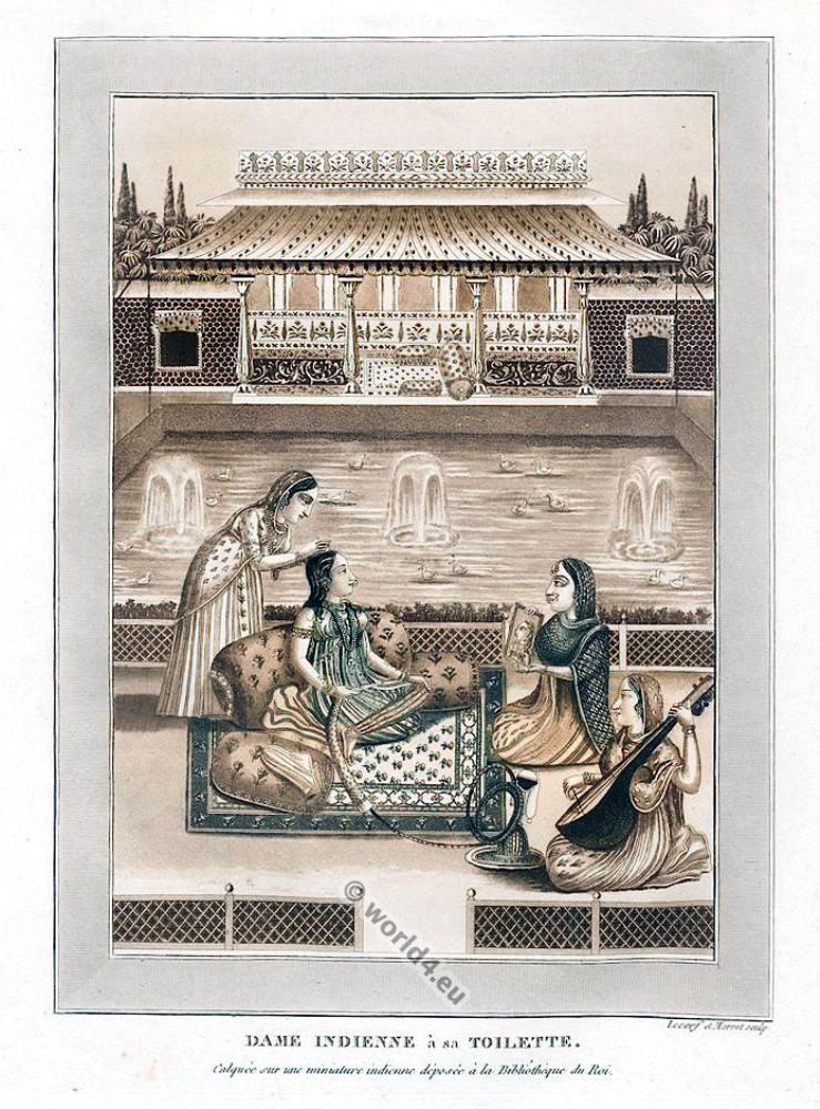 Indian lady's toilet. India Mughal miniature painting. Mogul Empire Nobel costumes.