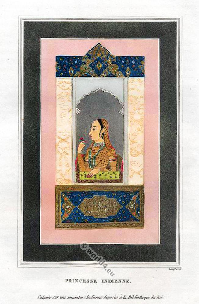 Indian Princess Costume. Mughal miniature painting.