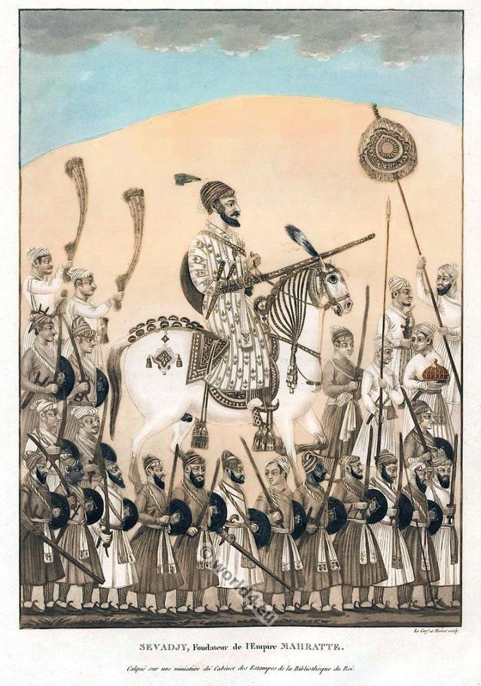 Sevadjy, Founder of the Maratha Empire. India Mughal miniature painting. Mughal Costume.