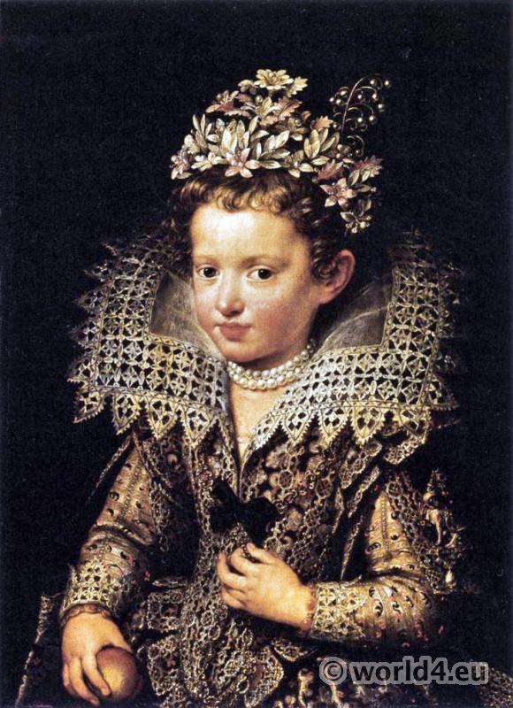 Ruff and cuffs of cut-work. Eleonora de Gonzaga Mantua. Italian lace.