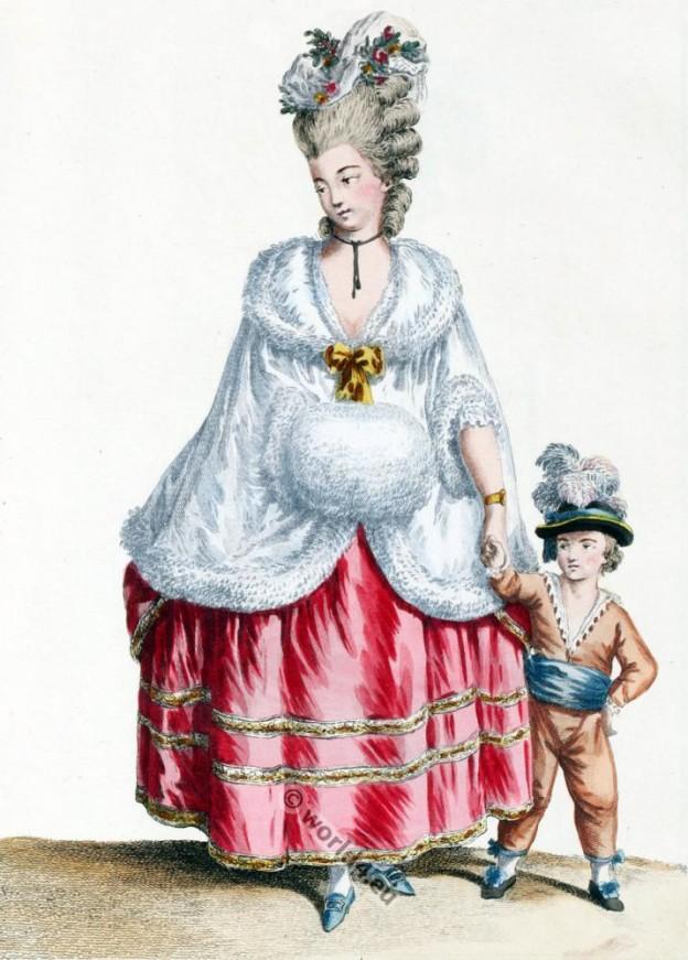 Pelisse de Satin doublé poil de Chat-Angora. Louis XVII costume period. Rococo fashion.