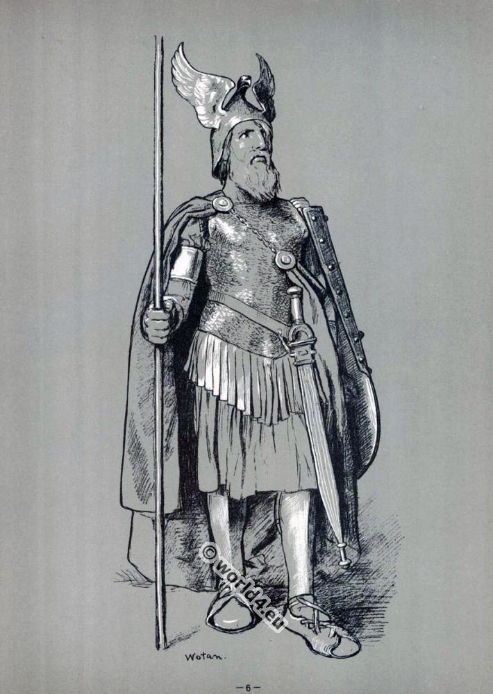"Wotan, in the ""Valkyrie"". Opera Costumes. The Ring Cycle. Ring des Nibelungen. Richard Wagner."