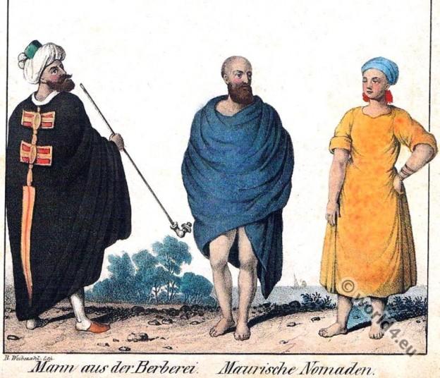 Traditional costumes Berbers from Algeria, North Africa. Moorish nomads.