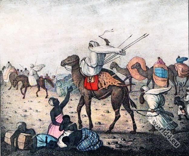 Arab caravan. The Simoom. Sahara desert