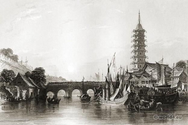 Bridge, Nanjing, Ancient, China, architecture, Chinese, Landscape,