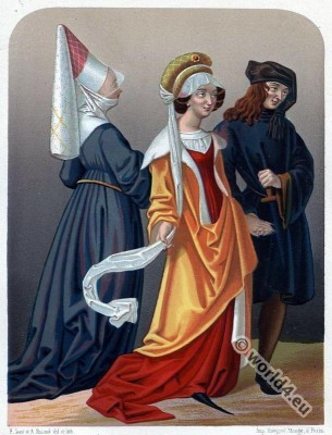 Medieval, Flanders, Burgundy, Israel van Meckeln, Reticulated, Headdress