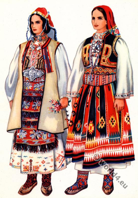 Serbian national costumes. Balkans folk dresses.