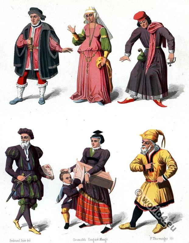 Switzerland medieval costumes. 15th century fashion.
