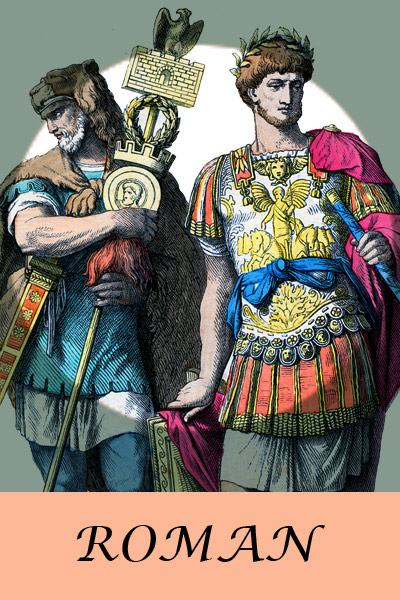 Ancient Roman costume history. Ancient Roman costumes and clothing. Antique Roman king and soldiers.