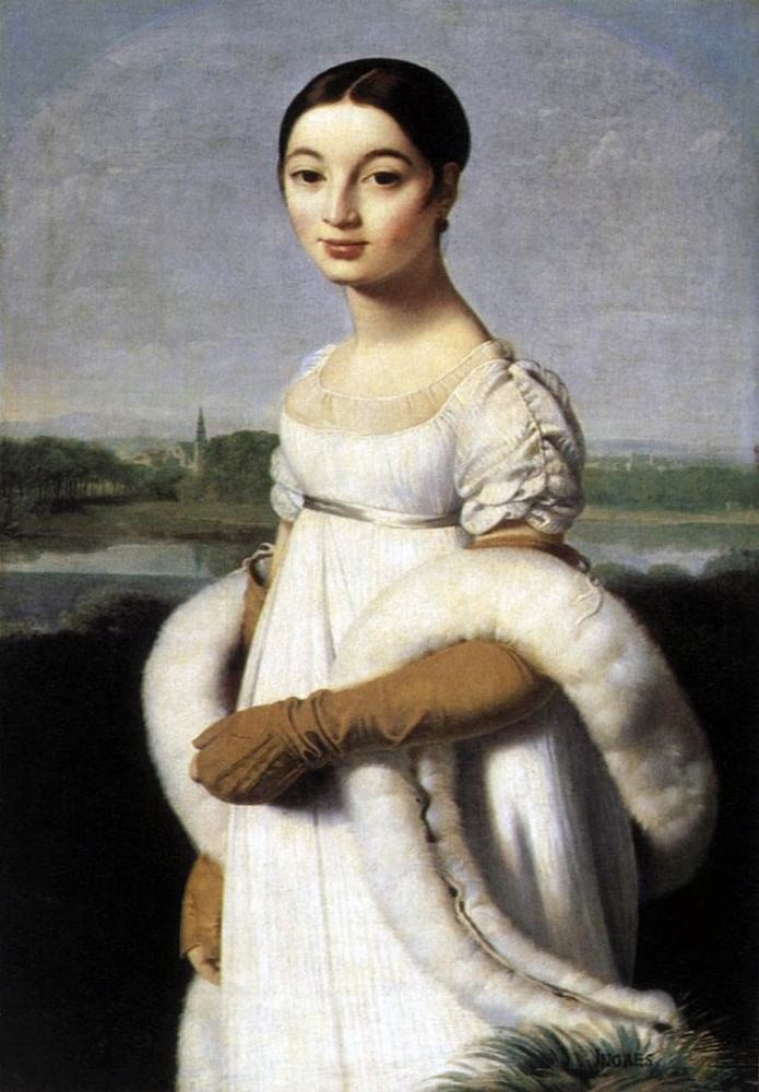 Mademoiselle Caroline Rivière. Neoclassical painting by Jean Auguste Dominique Ingres. First Empire, Fashion history, regency, costumes