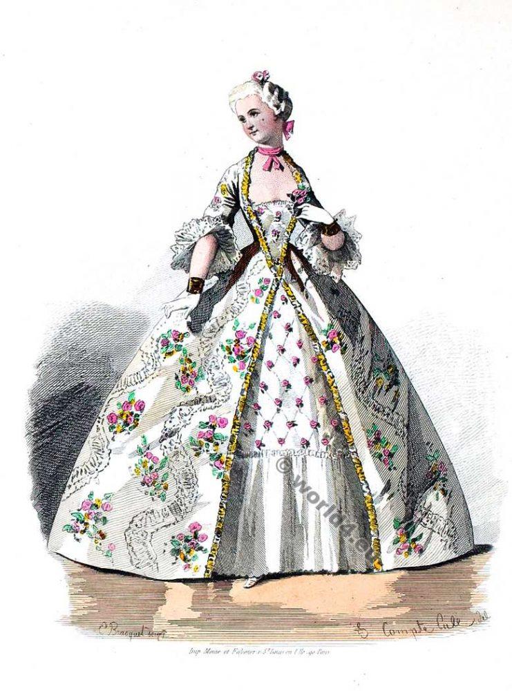 Crinoline costume. 18th century clothing, Rococo.