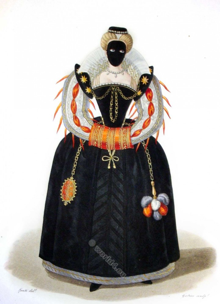 Demoiselle, Masque, 16th, century, costumes, fashion, Renaissance