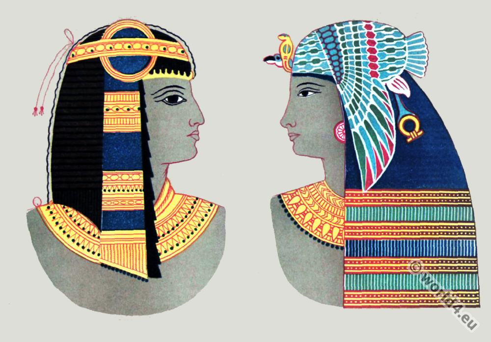 Ancient, Egyptian, costumes, Pharaoh, crowns, headdresses, Wall, Paintings, Thebes,