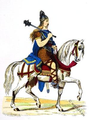 Salian Frankish, Costume History. 5th century clothing. Merovingian, king