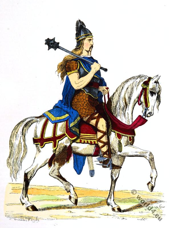 Merovingian king, Salian Frankish, 5th century clothing