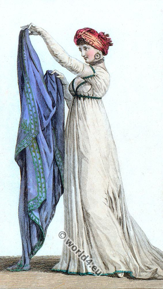 Regency Costumes. French First Empire fashion. Costume Parisien