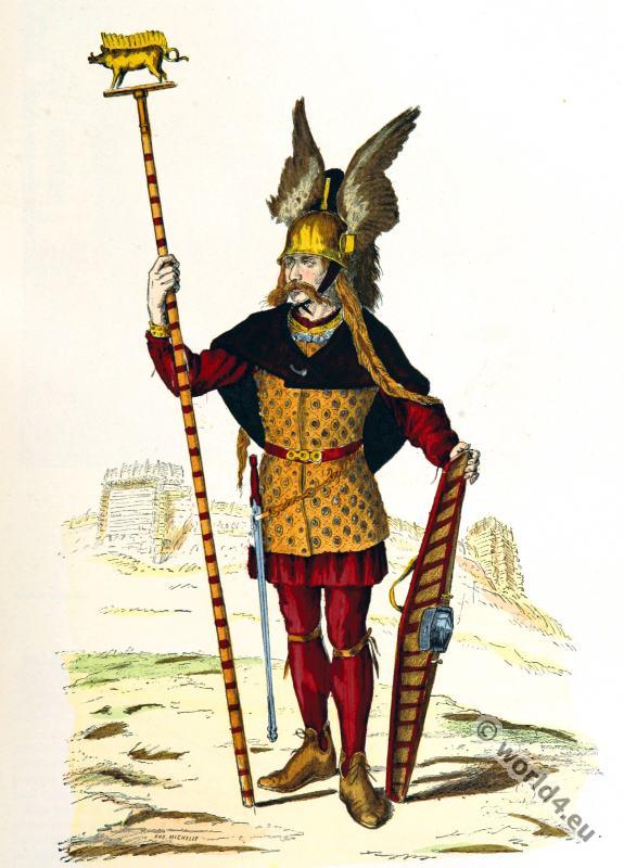 Roman, gauls, costumes, Gallic, chief,