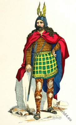 Gallic chieftain costume. Gaul warrior. 2nd to 3rd century clothing
