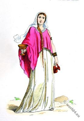 Young Gallic Woman dress. 5th century clothing, Merovingian, Frankish