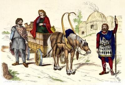 Celtic. Gauls Costume History. Gallic habitation. Merovingian. Chariot.