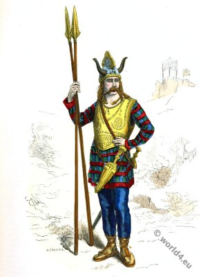 Gallic leader. Gaul warrior. Gaulish soldier costume.