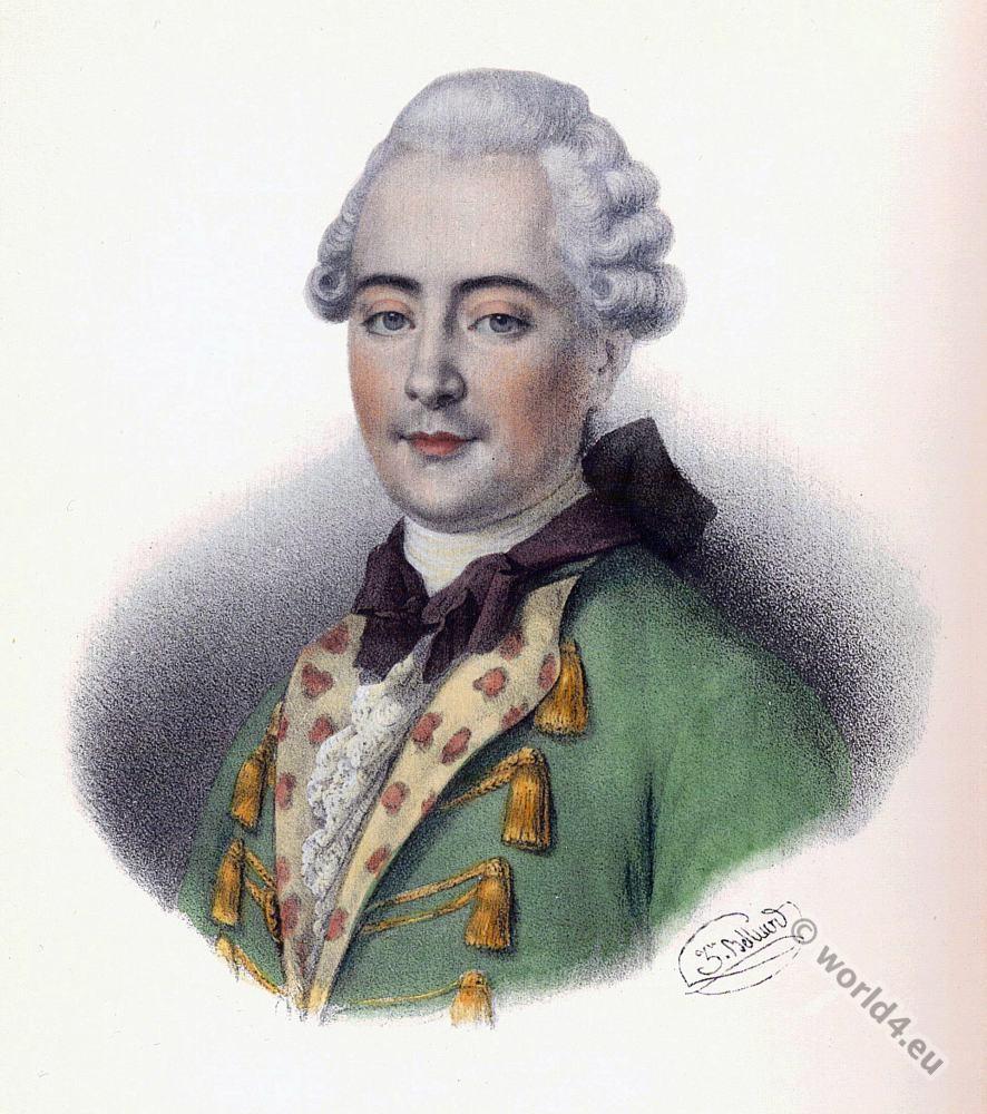 Jean-François de La Harpe, poet,  costumes, Rococo, allonge wig