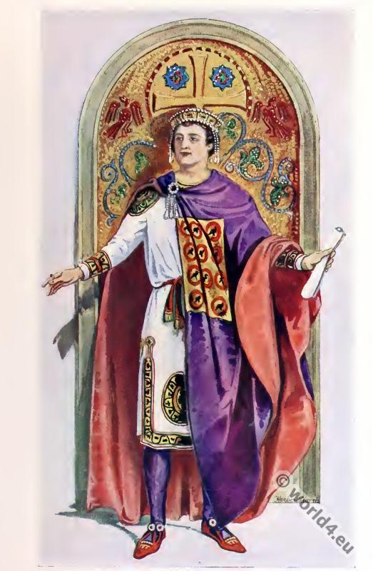 Emperor, Justinian,Tablion, Dalmatica, Byzantine, Costume, History