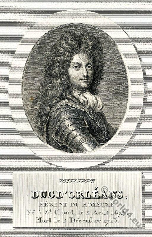 Philippe II, de Bourbon, duc d'Orléans, Regency, Allonge wig, 18th century, nobility
