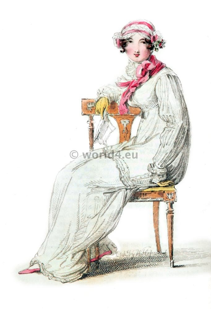 Indoor Morning Dress, First Empire, Fashion history, regency, costumes