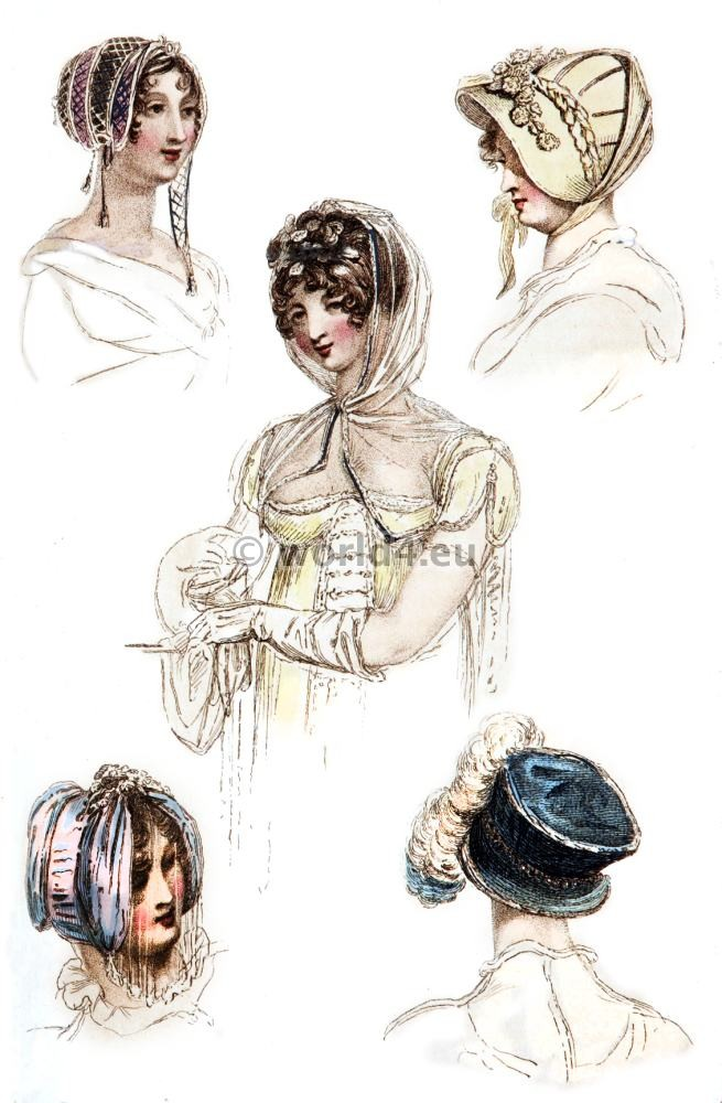 Headdresses, First Empire, Fashion history, regency, costumes