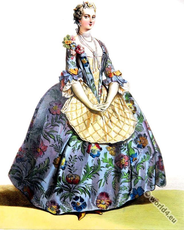 Rococo Costume History. Louis XV. fashion.