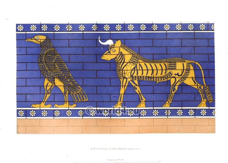Assyrian Nineveh History. Details of enameled wall. Mesopotamia Bull.