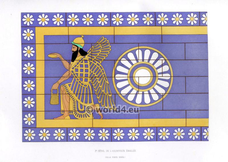 Assyrian Nineveh History. Third detail of glazed archivolte. Mesopotamia Winged god.