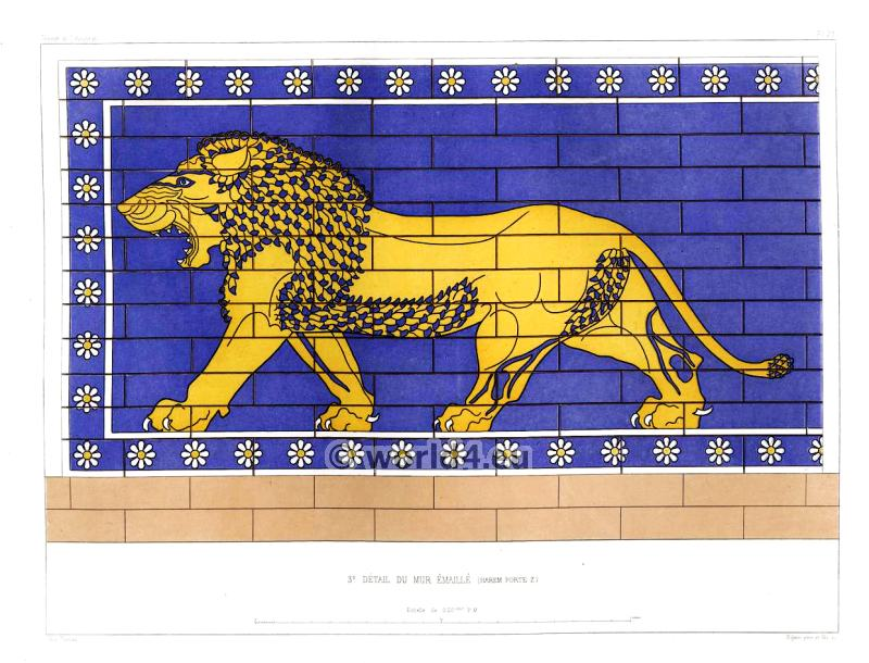 Assyrian Nineveh History. 1st. detail glazed wall. (Harem Door). Mesopotamia Lion.