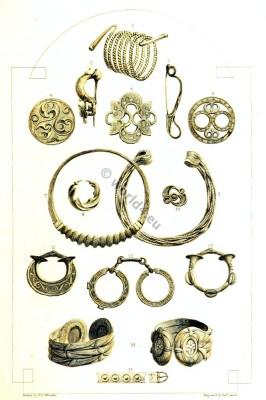 Celt. Celtic Bronze Bracelets. Celtic Fibula. Celtic Gold Ear-ring. Celtic Gold Torque