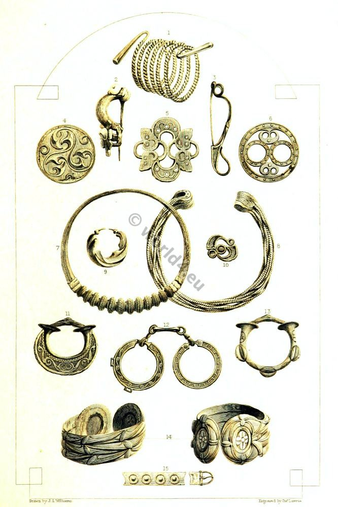 Celtic relics. British history. Celt culture. Celtic Bronze Bracelets. Celtic Fibula. Celtic Gold Ear-ring. Celtic Gold Torque