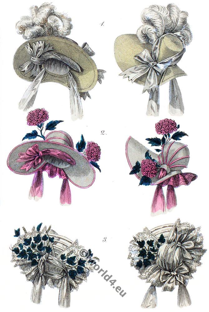 fashion history, Romantic, headdresses, parisien, Bonnets, capotes,