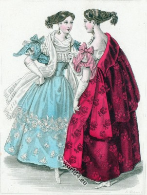 fashion history, Romantic,Crepe,  Gauze, dresses, Bonnets, Biedermeier,