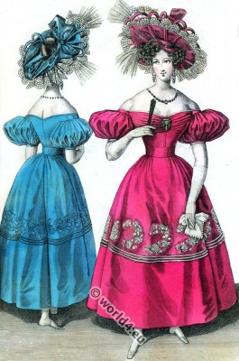 Romanticism fashion. Gauze dresses. Romantic costumes. Biedermeier era.