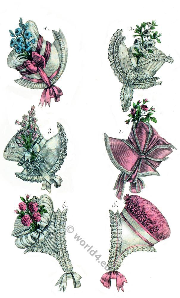 Regency hat fashion. Cornette. Costume Parisien. Empire fashion, Restoration.