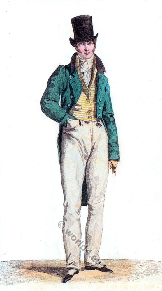 Regency Mens fashion. Man with cylinder hat.