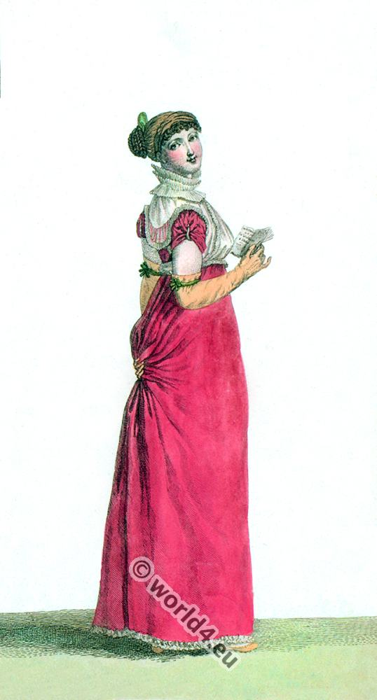 Regency costumes. French First Empire fashion. Costume Parisien. Georgian fashion era.