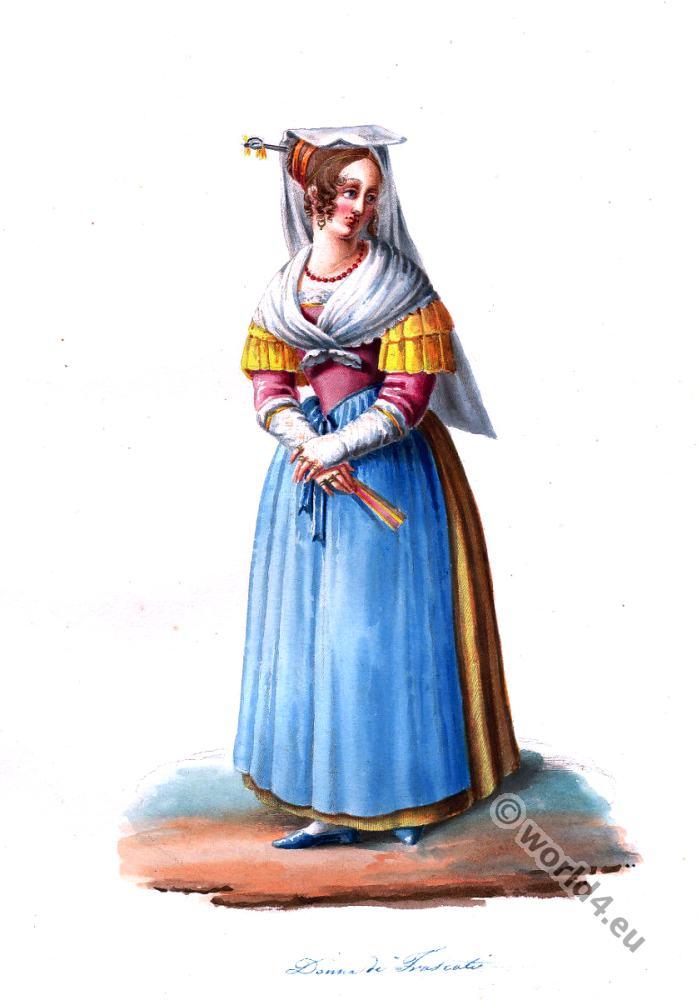 Frascati, Donna, costume, Rome, Costumi