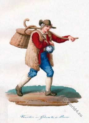 Italia, peasant, costume, Lazio, Venditore,
