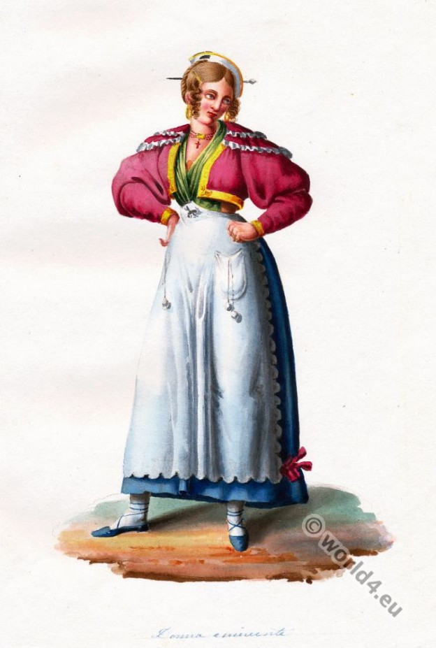 Italy national costumes. Costumes of Rome. eminent woman folk dress