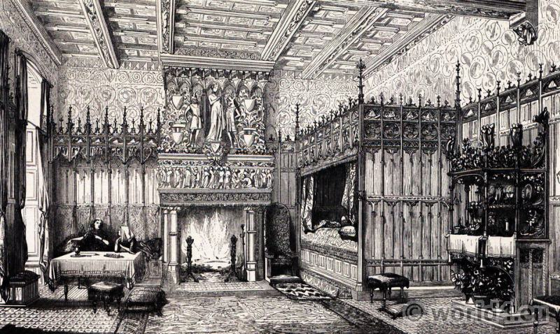 15th, century, castle, bedroom, Middle ages, furnishings, Renaissance, interior,