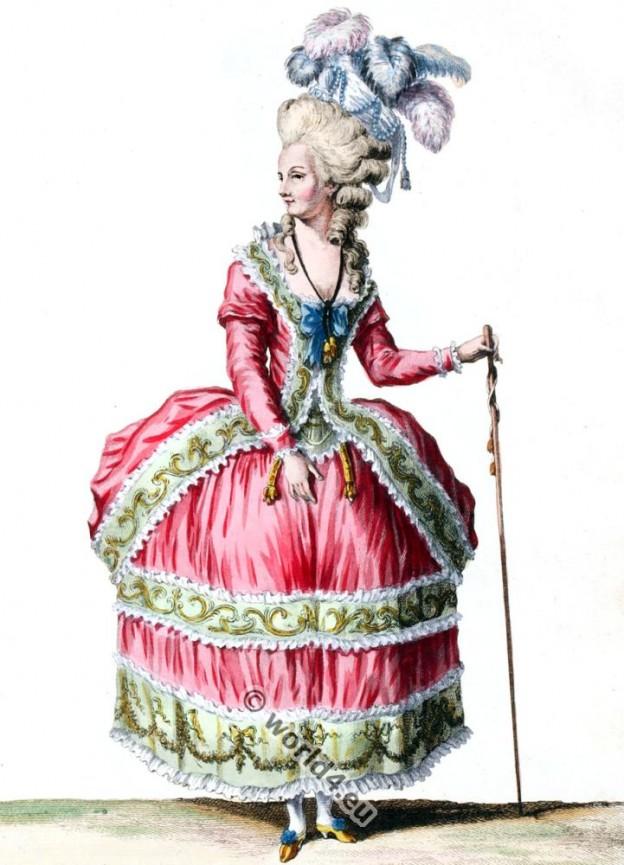 Robe à la Circassienne. Rococo fashion 18th century. Reign Louis XVI.